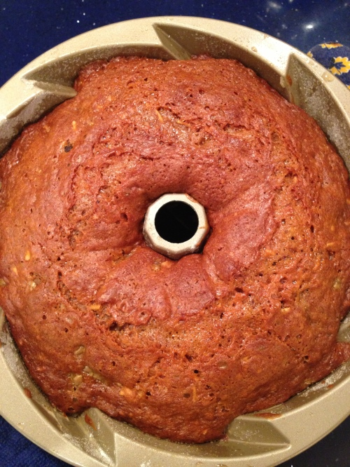 Honey Beet Cake fresh from the oven with a golden glow