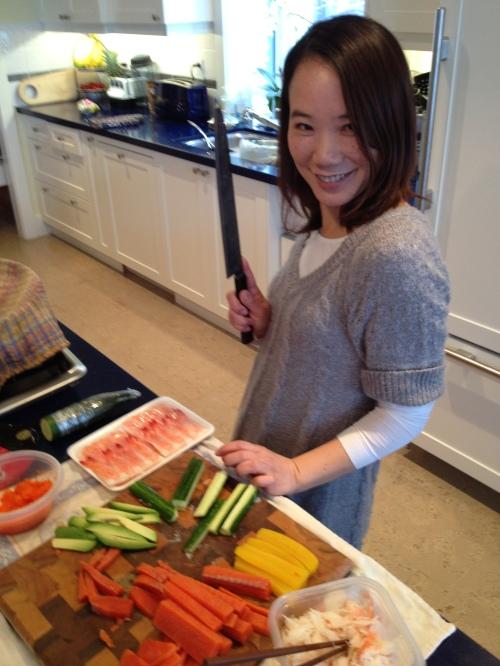 Chi loved using my Takeda AS Sujihiki (slicer)