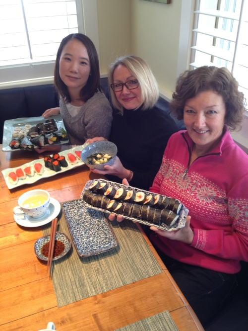 My friends Chigusa, Donna and Sarah & our freshly made sushi
