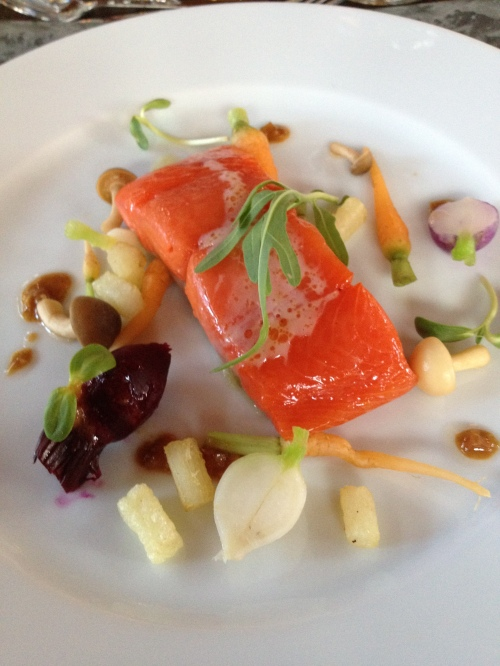Lightly smoked salmon w Green City Acres baby vegetables, Mark Filatow, Waterfront Wines, Kelowna, BC
