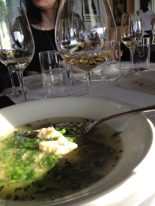 Dungeness crab & spring pea soup by Joy Road Catering w Tantalus Chardonnay