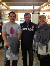 Pierre Lamielle & Judy Wood of Calgary Food Tours Inc with Sylvan Star Canadian Grand Prix winner Jan Schalkwyjk (center) photo credit - Karen Anderson