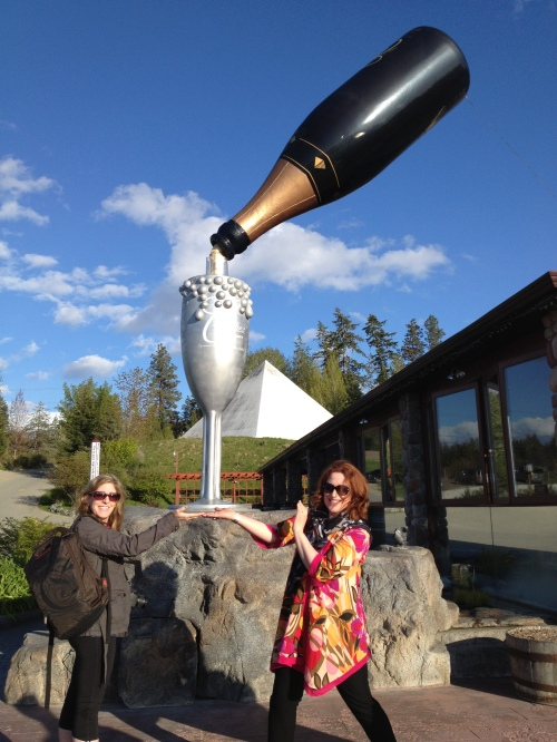 Janet Henderson & Shelley Boettcher share a wee glass of Cipes Ariel Sparkling wine at Summerhill Pyramid Winery (see pyramid in background)