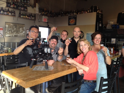 "A brewery tour and game of darts is a great thing to do with a small group. Here I am with the crew of ""Off the Beaten Palate"" when we celebrated a wrap-up of filming at Wild Rose Brewery in Calgary Lt-Rt Jong Won Ham, Dan Dor, James Klopko, (Brian Smith from Wild Rose Brewery), Michael-Ann Rowe and last but not least ME!"