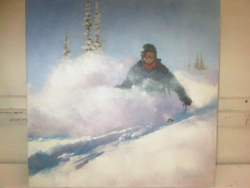 Portrait of Todd Anderson powder skiing Oil painting by Louise Savoie From the private collection of Karen Anderson