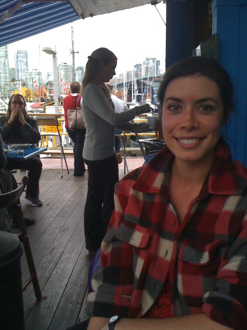 Lunching with Lindsay Anderson near Granville Island in the quiet days before her 365 Richmond blog experience October, 2011 photo - Karen Anderson