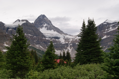 MT. Assiniboine and Lodge from its heliport base photo - Karen Anderson