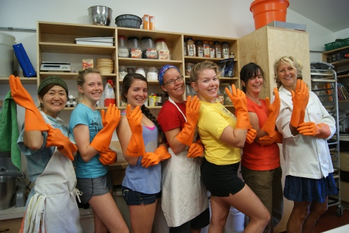 Fun in the kitchen at Mt. Assiniboine with (Lt to Rt) Miko, Sarah, Anne-Marie, Heather, Erin, Annick and chef Marianne photo - Karen Anderson