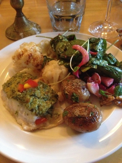 Snapper with dill pesto, roasted potatoes, cauliflower and beet, fennel, spinach salad - Mt. Assiniboine Lodge photo - Karen Anderson