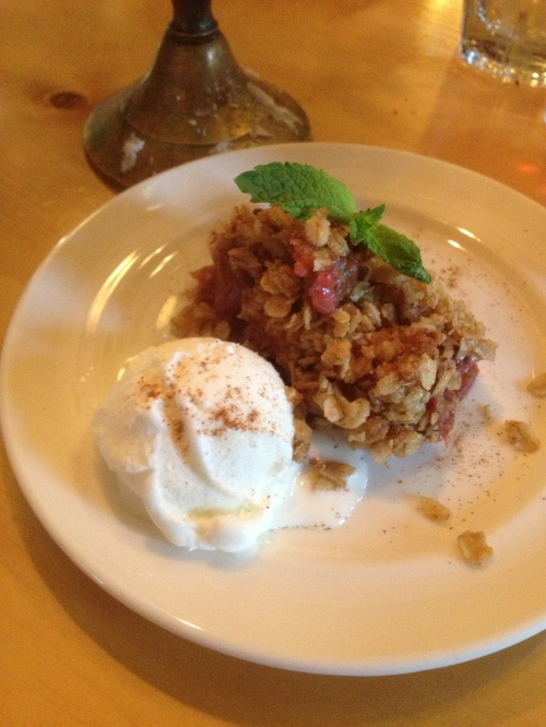 Rhubarb crisp with homemade ice cream - Mt. Assiniboine Lodge photo - Karen Anderson