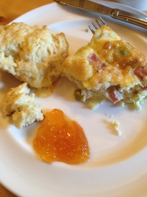 Frittata and scones with homemade preserves - 2nd course of breakfast - Mt. Assiniboine Lodge photo - Karen Anderson