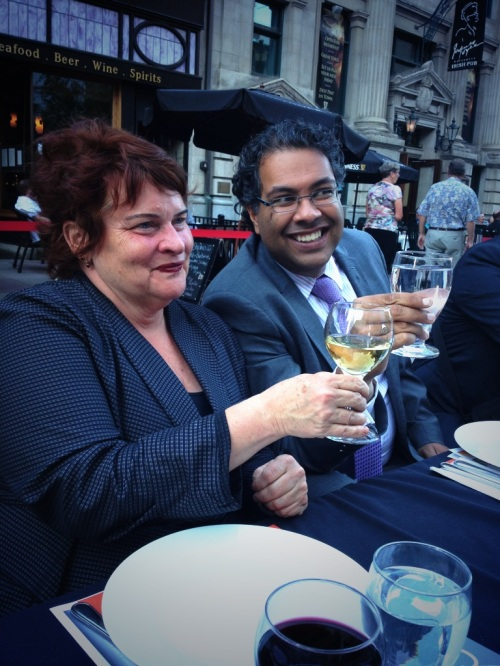 Mayor Nenshi with my friend, City Palate publisher, Gail Norton celebrating her 20 years of success with the magazine  photo - Karen Anderson