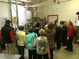 Tony Marshall explains how they cold press canola and flax to make organic cooking oils Photo - Karen Anderson