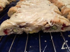 Cookie close-up - I love the combination of lemon zest, fennel, white chocolate and pistachios. photo - Karen Anderson