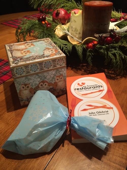 """A little box or bag of biscotti is a lovely gift to share and my friend John Gilchrist's """"My favourite restaurants - Calgary, Canmore and beyond"""" book is also a fun gift because it gives people something to chew on all year. photo - Karen Anderson"""