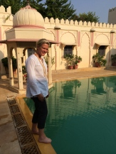 My friend Ingrid Friesen was tempted by the cool waters of the beautiful pool at Rohet Garh photo - Karen Anderson