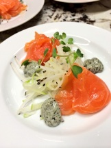 Relais & Chateaux Kensington Riverside Inn's Chef's Table played with gravlax - so on trend worldwide with the dominance of all things Scandanavian photo - Karen Anderson