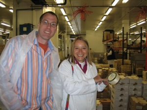 Dave Hockey and Isabel Bachelard checking out the cheeses at Rungis photo - Karen Anderson
