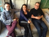 Andrew Stewart (Model Milk), Karen Kho (Teatro), Bruce Soley (River Cafe) earned a rest after trying 12 wines photo - Karen Anderson