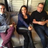 Andrew Stewart (Model Milk), Karen Kho (Teatro), Bruce Soley (River Cafe) earned a rest after trying 12 wines photo - Karen Anderson