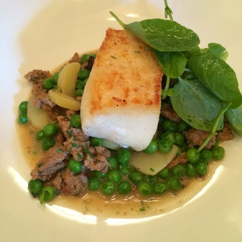 Pan Seared BC Halibut with Morel, English Pea and Chorizo Ragout photo - Karen Anderson