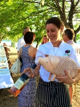 Rosata the newly christened wine cork pig enjoying the wine her name came from photo - Karen Anderson