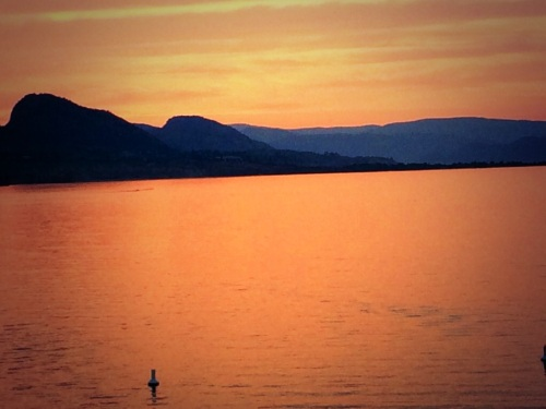 Apricot sunset on Lake Okanagan, Penticton, B.C. - photo - Karen Anderson
