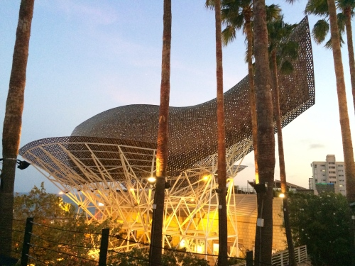 all lit up - Gehry's fish - photo - Karen Anderson