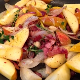 3 petite potatoes go a lot further with the help of a bit of bacon, apple and shallots - photo - Karen Anderson