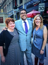 City Palate Publisher Gail Norton, Mayor Naheed Nenshi and event organizer Janet Henderson - photo - Karen Anderson
