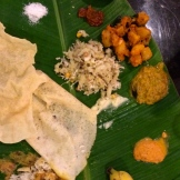 Banana Leaf Thali - a typical South Indian lunch - photo - Karen Anderson