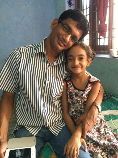 My friend and colleague Charles with his daughter Sahana who proved to be an excellent cooking instructor - photo - Karen Anderson