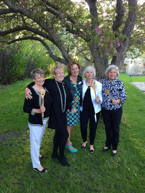 "Calgary Food Tours ""Smiley Guy"" cooking spoons went home with Val Robinson, Mary Halpen, Helen Miles and Joan Wilson when owner Karen Anderson had the pleasure of meeting the founders of the #BestofBridge Cookbook series - photo - Sue Duncan"