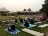 early morning yoga at Khimsar - photo - Karen Anderson