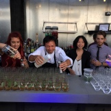 All Bar Hands on Deck - the Hotel Arts team get a helping hand from Executive Chef Duncan Ly - photo - Karen Anderson