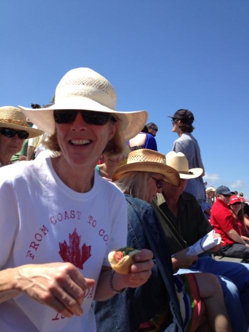 My friend Irene has great Canada Day spirit - photo - Karen Anderson