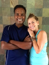 JoJo Brooks w Master Makesh in Mamallapuram - photo - Karen Anderson