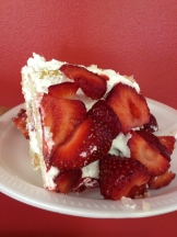 strawberries and cream with white cake - photo - Karen Anderson