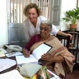 with Mrs. Meena at The Bangala in Chettinad - photo - Naddine Maddel - Morgan