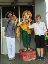 Pauli-Ann and Patti loving the chai stop in Tamilnadu - photo - Karen Anderson