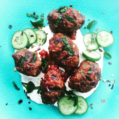 Shish Kebabs with Cucumber Raita from A Spicy Touch: Family Favourites from Noorbanu Nimji's Kitchen by Noorbanu Nimji and Karen Anderson - photo - Karen Anderson