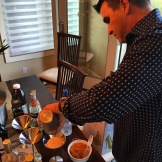 My friend Steve Magus shaking up some pumpkin spirits - photo - Karen Anderson