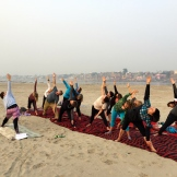 yoga on the Ganges - photo credit - Karen Anderson @savouritall