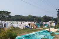 clothes drying at the laundry empowerment project in Kerala India - photo credit - Karen Anderson