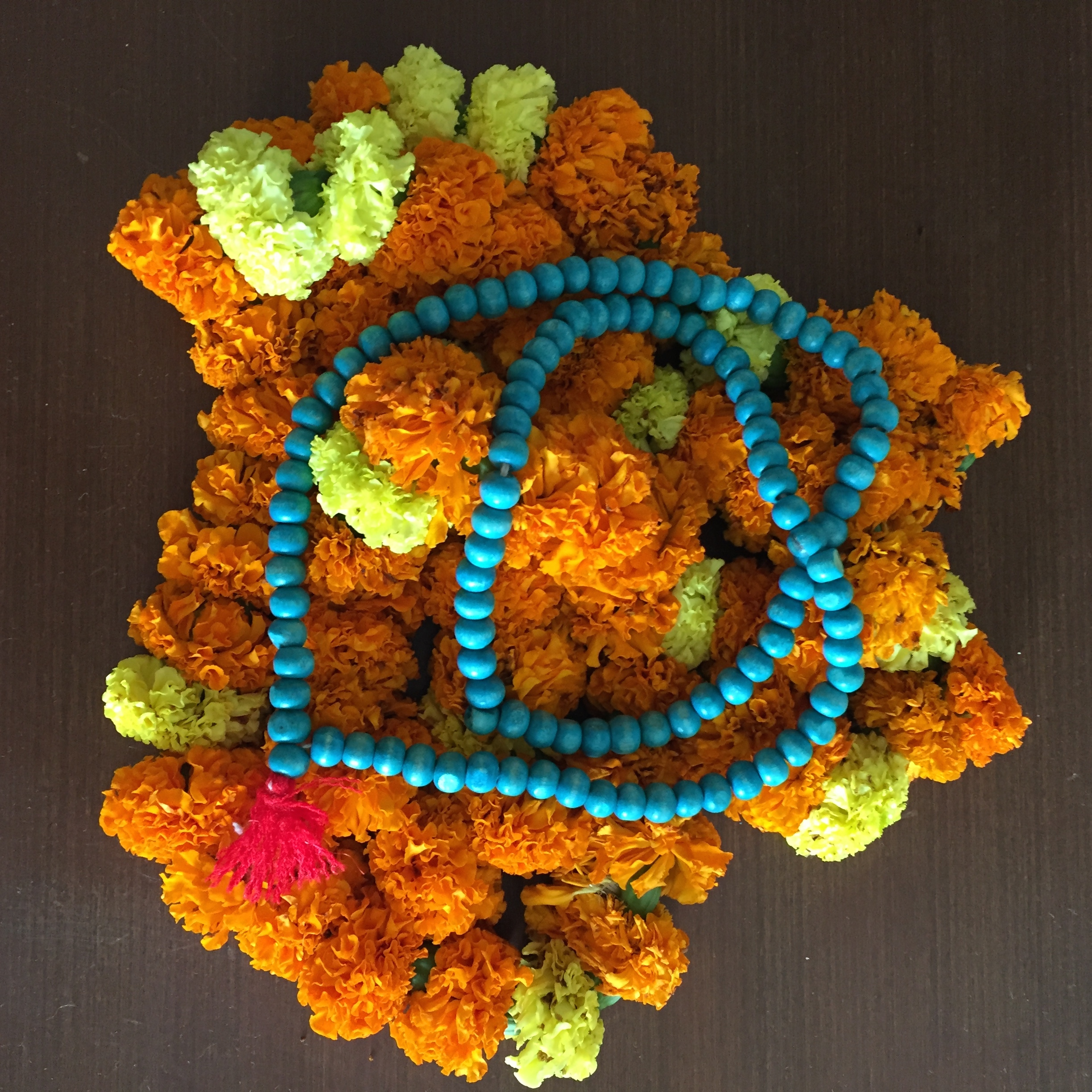 marigolds and prayer beads - photo credit - Karen Anderson - @savouritall