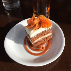 Carrot cake and beer - photo by Karen Anderson