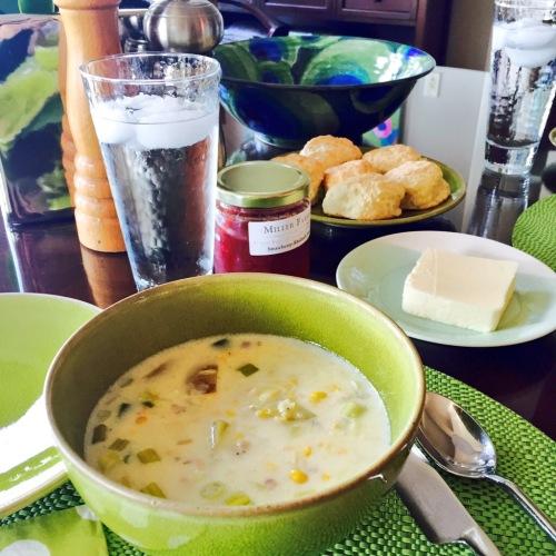 corn chowder and buttermilk biscuits