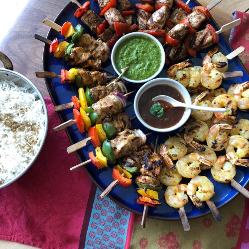 kebab platter with two dips and rice
