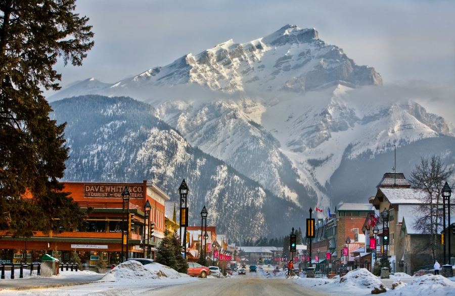 Banff Avenue in Winter