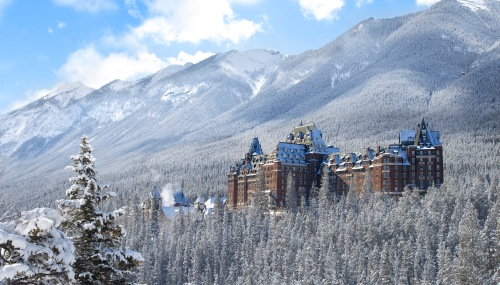 Fairmont Banff Springs Hotel on a snowy winter day